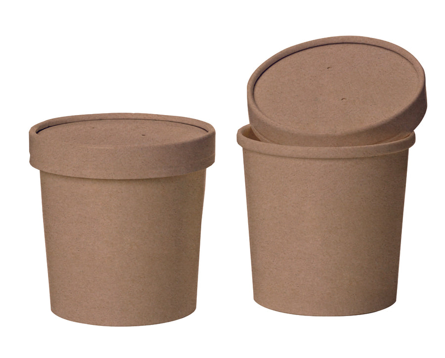 Brown Kraft Soup Cup with Kraft Paper Vented Lid -  3.5""