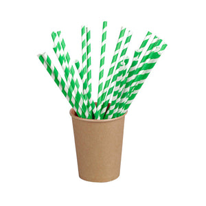 Green Striped Paper Straws Coated with Bees Wax - Individually Wrapped 7.75""