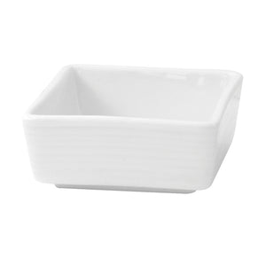 Mini White Square Porcelain Sauce Dish - 2 oz 2.8 x 2.8 x 1.2''