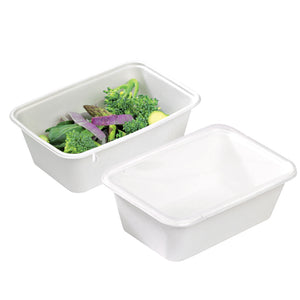 """Eco Rec"" Rectangular Sugarcane Salad Bowls - 17oz - 6.8 x 4.6 x 1.6"""