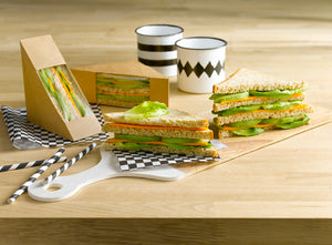 Kraft Single Sandwich Box with Window - 4.8 x 1 x 4.8""