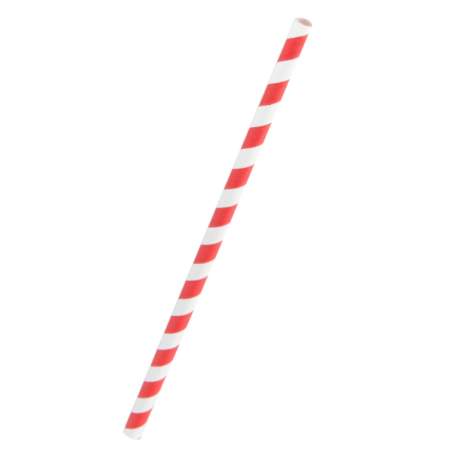 Red Striped Giant Smoothie Paper Straws Coated with Bees Wax - Unwrapped  7.75""