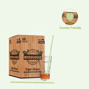 Chevron Lime Green & White Paper Straws Coated with Bees Wax - Unwrapped 7.75""