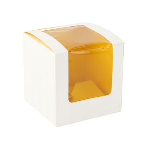Yellow Cupcake Box with Window (1 Piece) - 3.3 x 3.3 x 3.3""