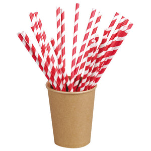 Red Striped Paper Straws Coated with Bees Wax - Unwrapped  7.75""