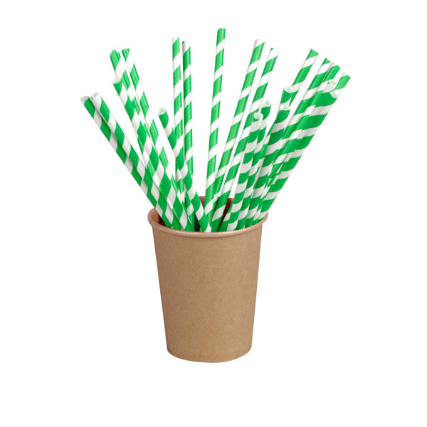 Green Striped Paper Straws Coated with Bees Wax - Unwrapped  7.75""