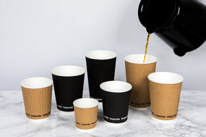 "Compostable Rippled Black Cups - 16 oz Dia: 3.5"" H: 5.4"""