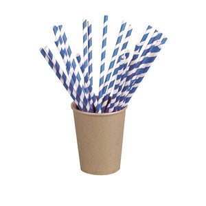 Blue Striped Paper Straws Coated with Bees Wax - Unwrapped  7.75""