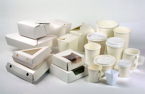 White Meal Box - Base: 7.7 x 5.5 x 2.5''Top: 8.5 x 6.3''36oz
