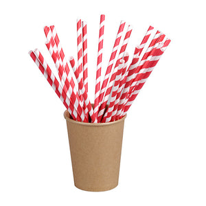 Red Striped Paper Straws Coated with Bees Wax - Individually Wrapped 7.75""