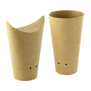 Closable Perforated Kraft Snack Cup - 8 oz Dia: 2.36'' H: 4.7''