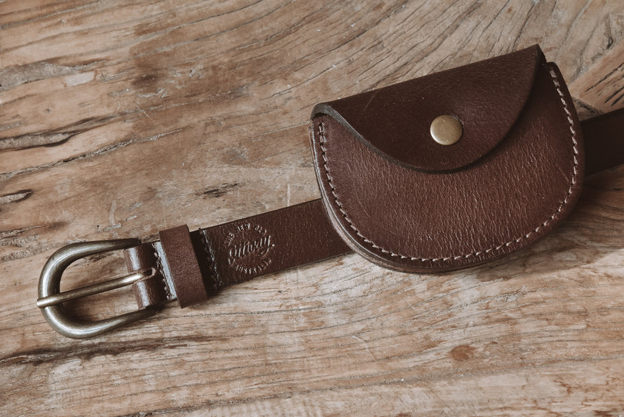 Chestnut Pouch Leather Belt