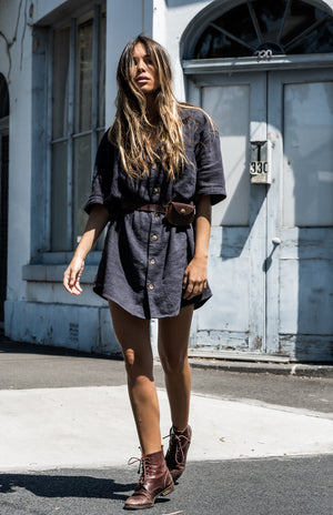 Whistler Navy - Ramie Shirt Dress