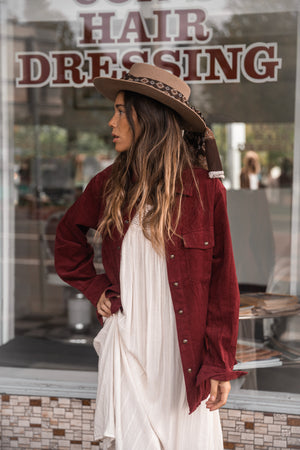Burgundy Corduroy - Women Long Sleeve Shirt