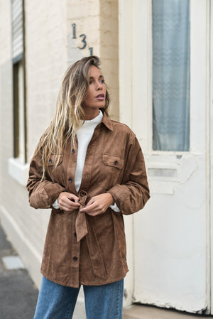 New Federal - Women Suede Long Sleeve Shirt/Jacket