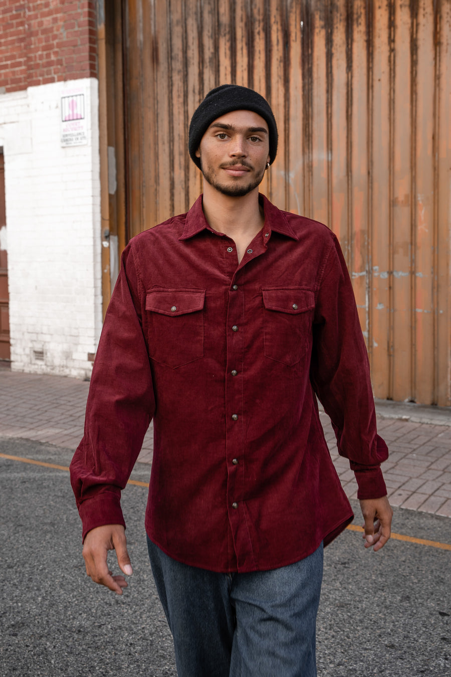 Burgundy Corduroy - Long Sleeve Shirt
