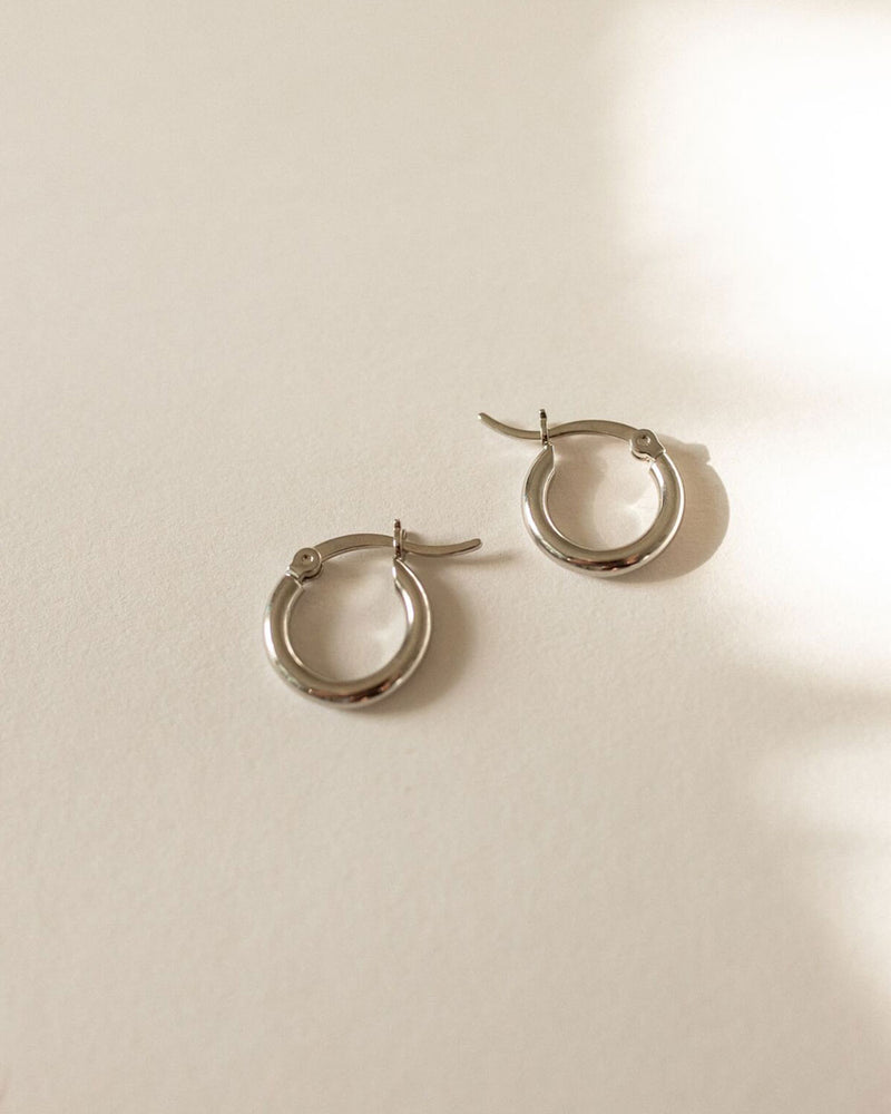 Mini Thick Silver Hoop Earrings