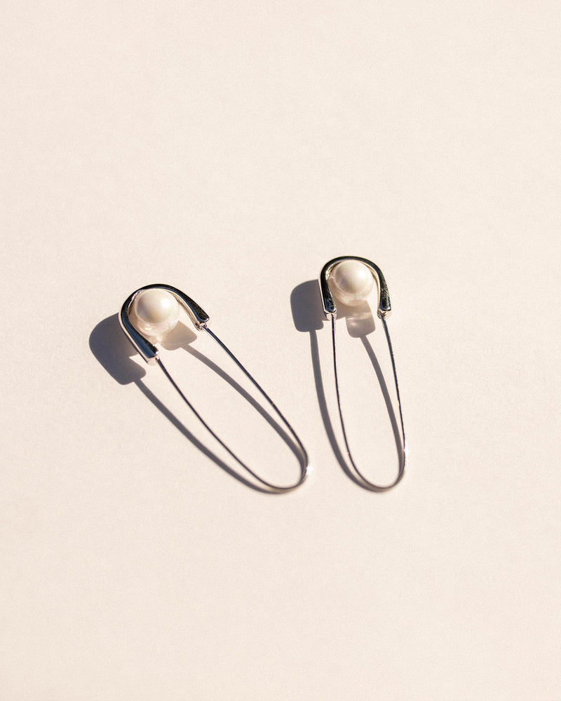 Safety Pin Earrings in Silver