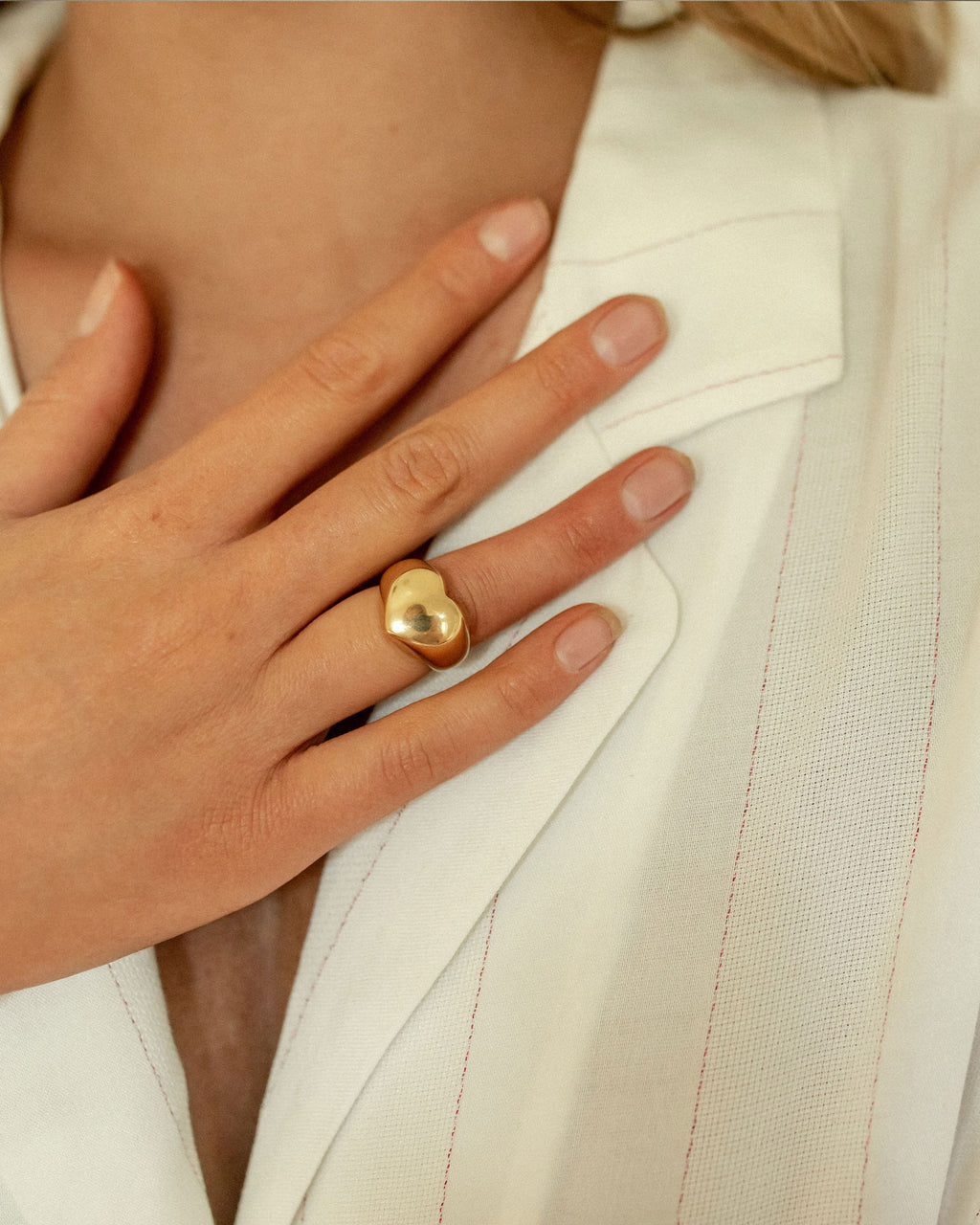 Gold Heart Chunky Ring