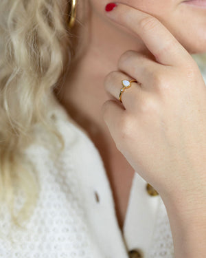 Gold Vermeil Tear Opal Ring