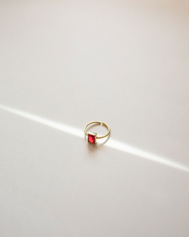 Red Stone Gold Vermeil Ring