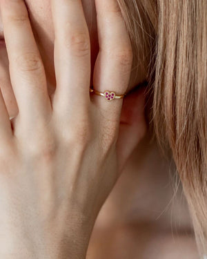 Pink Heart Gold Vermeil Ring