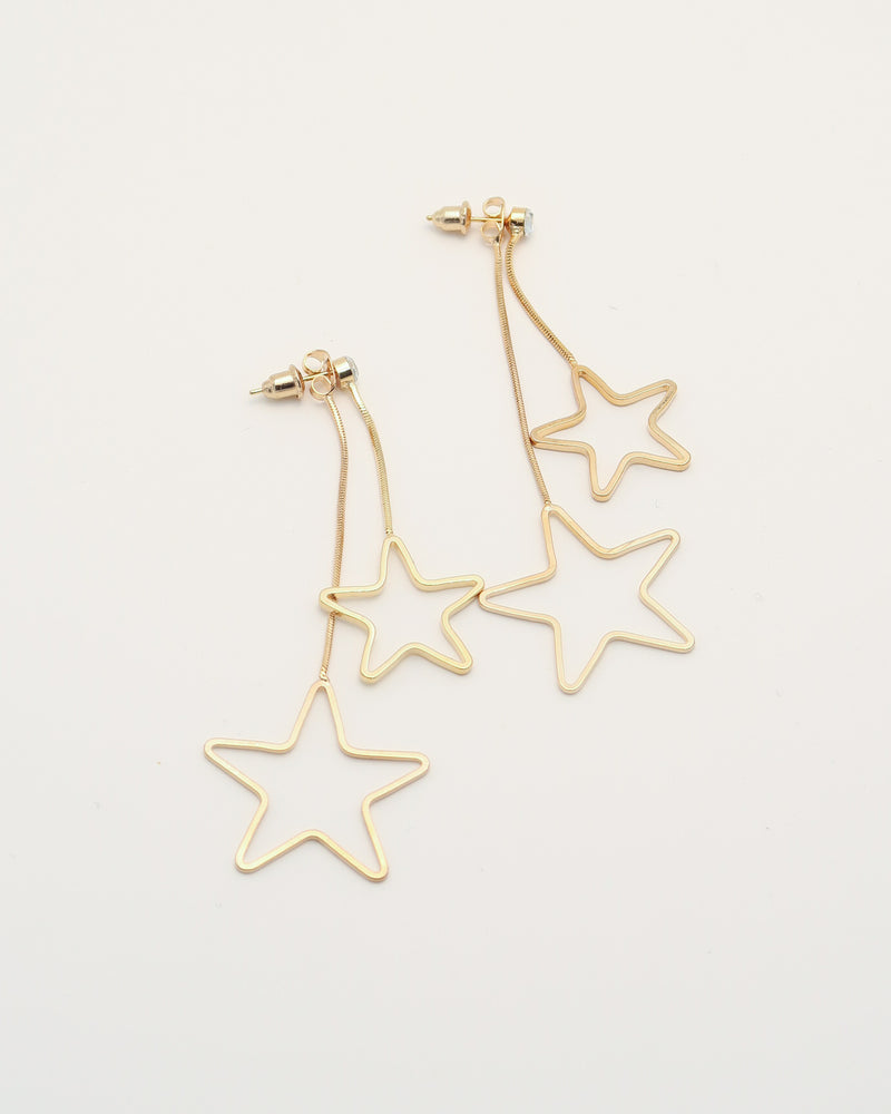 Double Shine Gold Star Earrings, earrings, En Route jewelry - En Route jewels