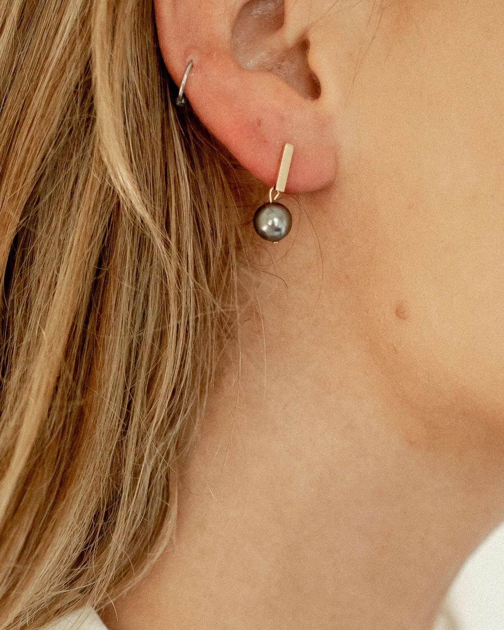 Black Pearl Stud Earrings