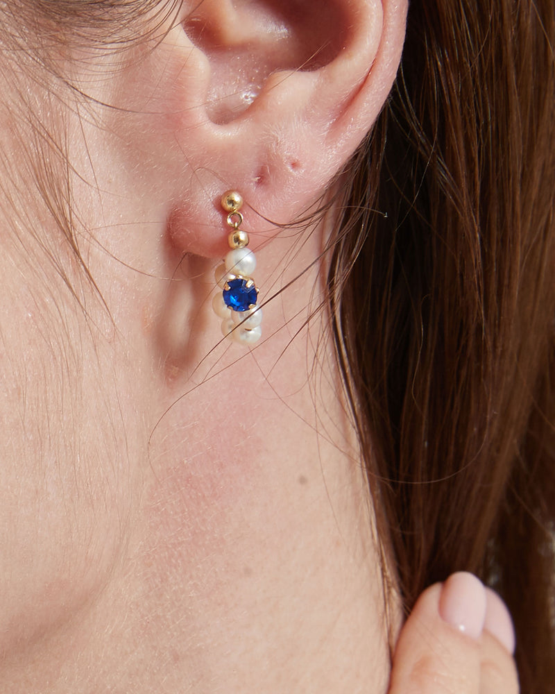 Blue Pearl Huggie Earrings