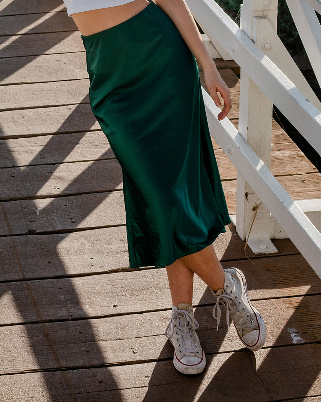 Satin Green Skirt