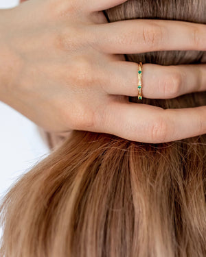 Nuovo Green Stone Gold Vermeil Ring