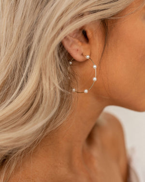 Yumi Pearl Hoop Earrings