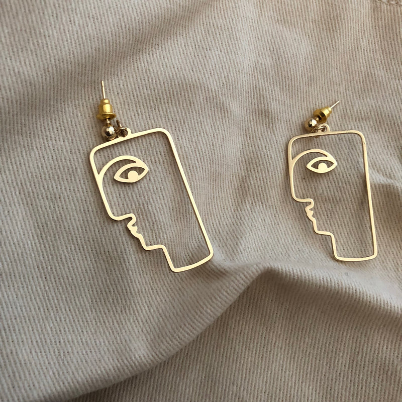 Mila Silhouette Gold Earrings, , En Route jewelry - En Route jewels
