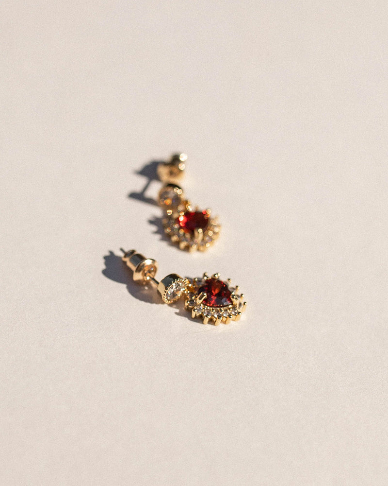 Elodie Red Hearted Studs