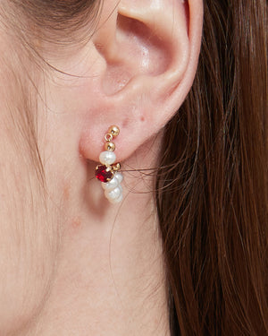 Red Stone Pearl Huggie Earrings