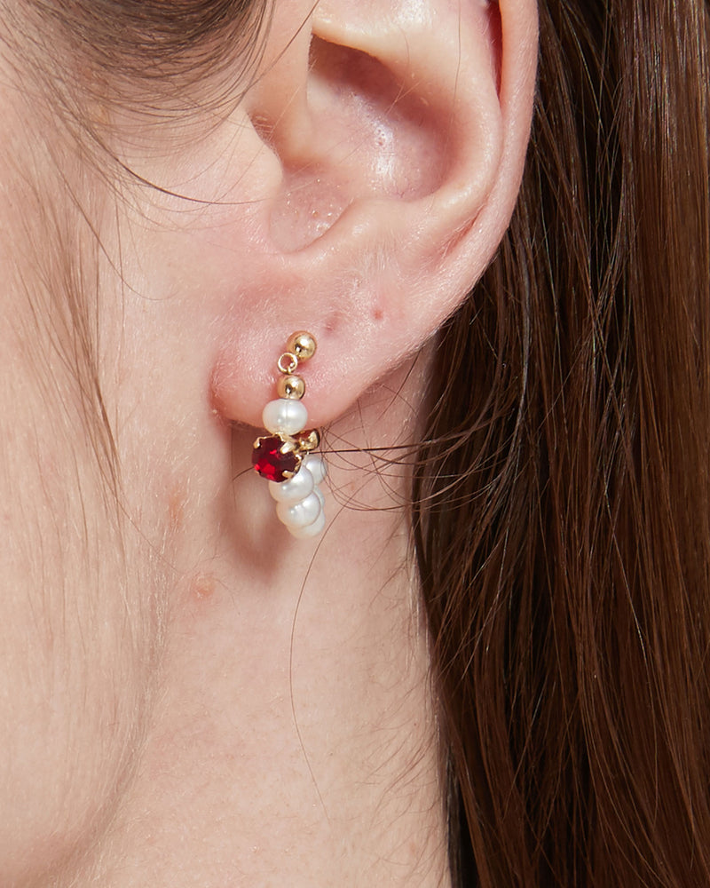 Red Pearl Huggie Earrings