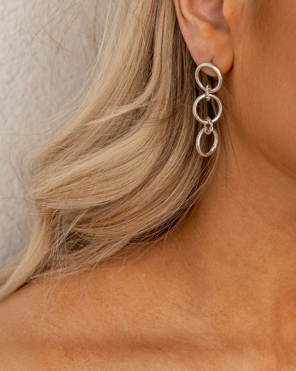 Frosty White Trio Hoop Earrings