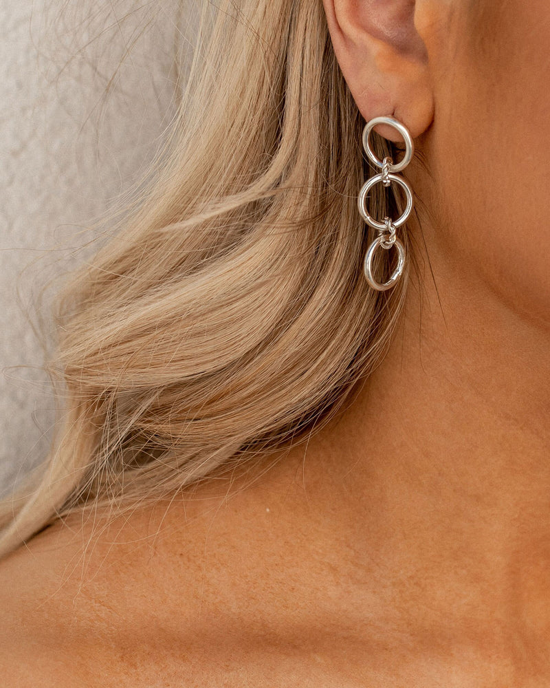 White Gold Chain Earrings