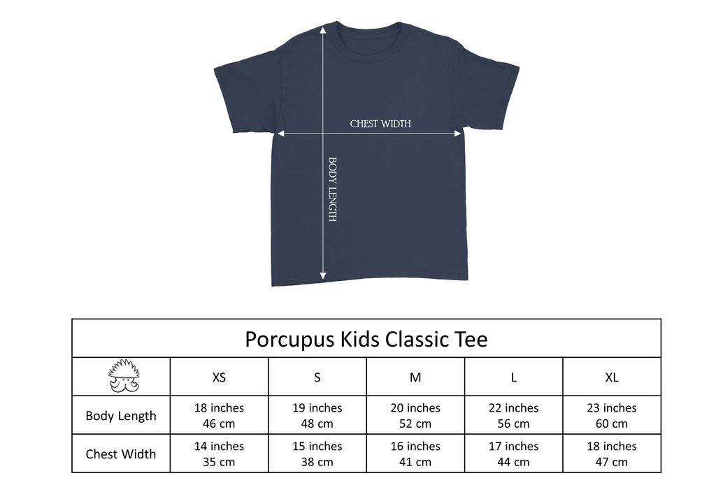 Porcupus Kids Classic Tee Size Chart