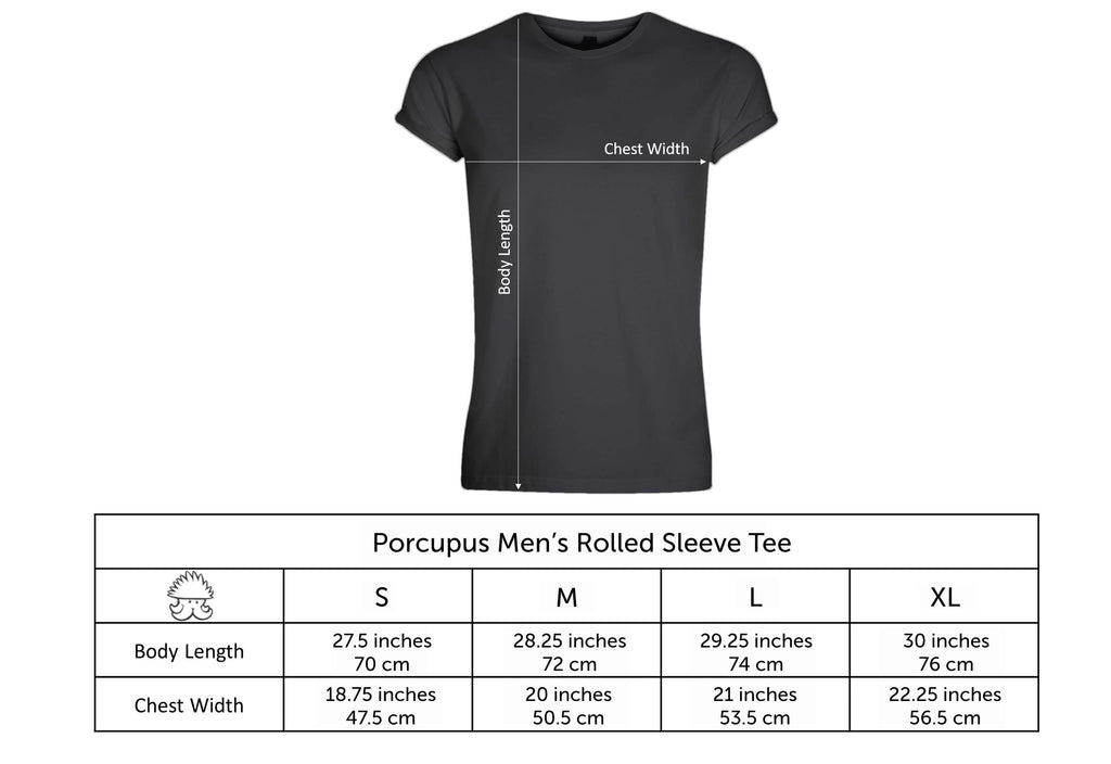 porcupus men's rolled sleeve tee size chart