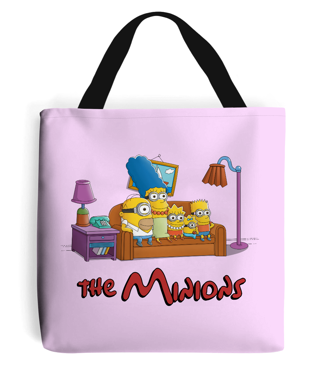 simpsons minions tote bag pink