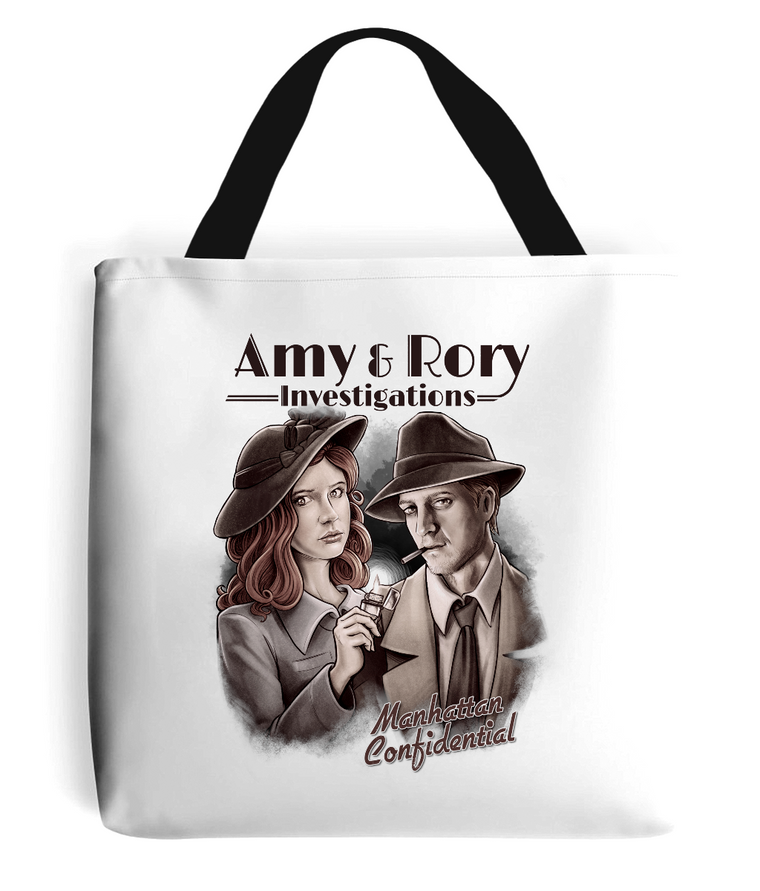 doctor who amy and rory tote bag black