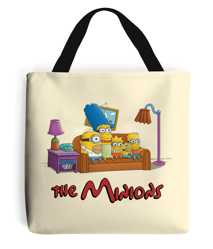 simpsons minions tote bag cream