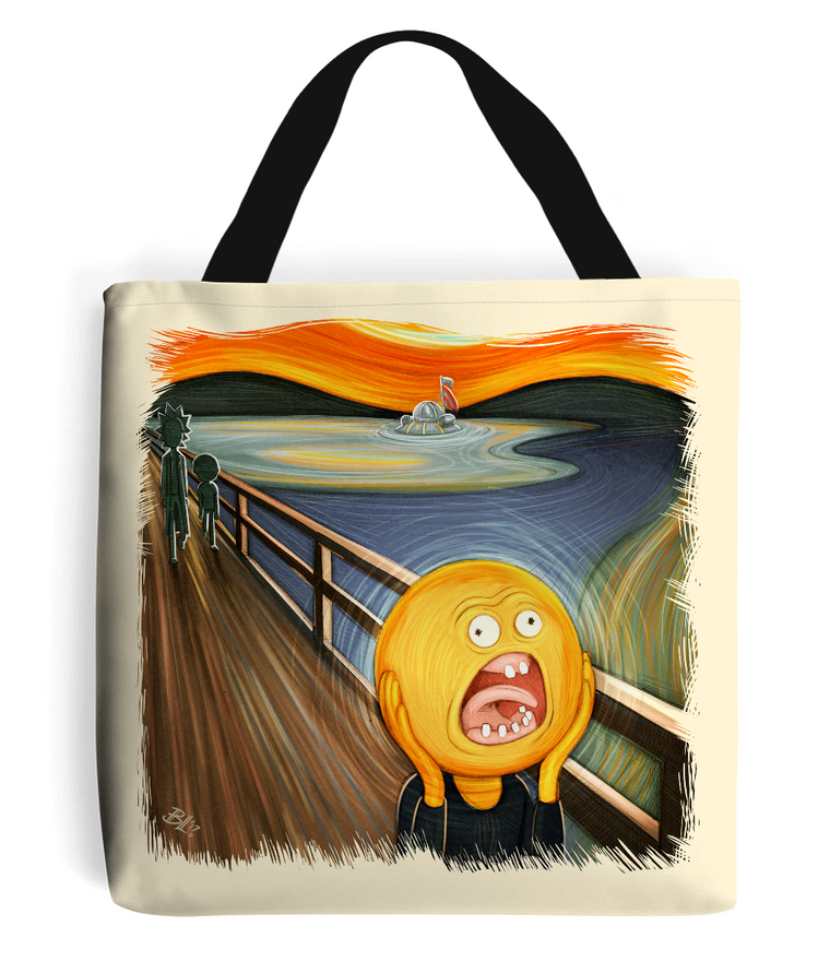 rick and morty screaming sun tote bag