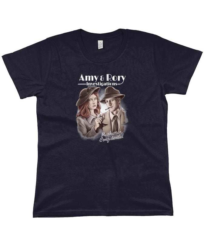 doctor who tees amy and rory women's navy