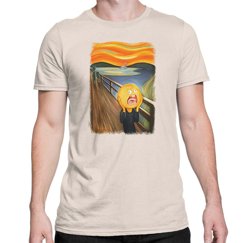 rick and morty screaming sun tshirt beige