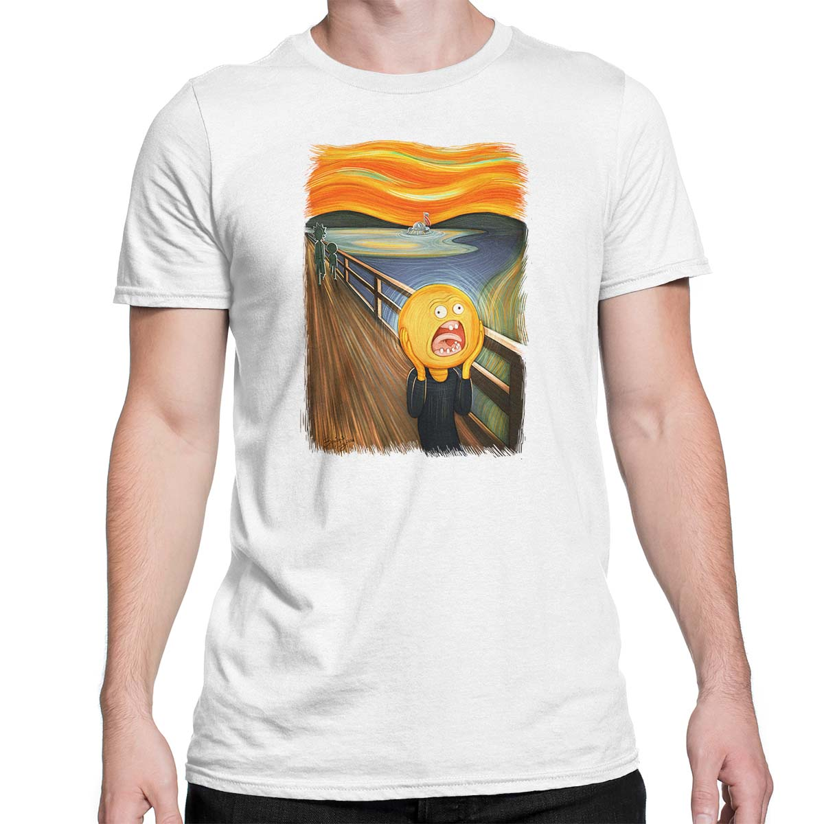 rick and morty screaming sun white tshirt