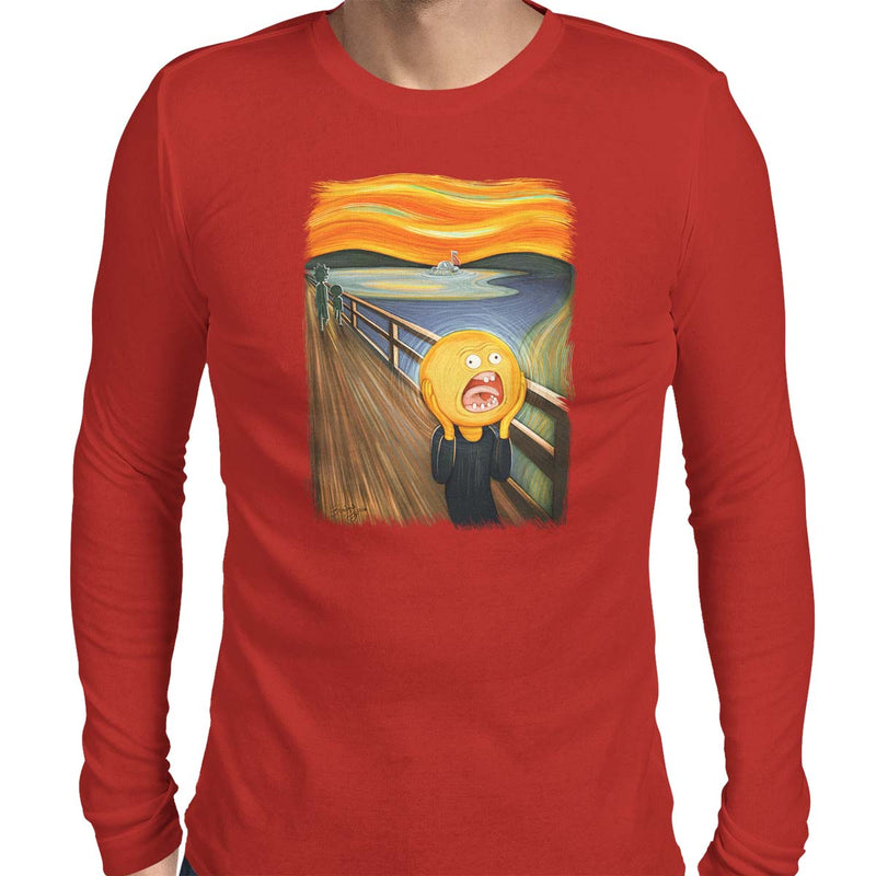 rick and morty screaming sun long sleeve tee red