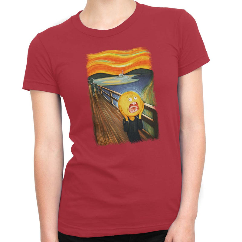 rick and morty screaming sun tshirt red