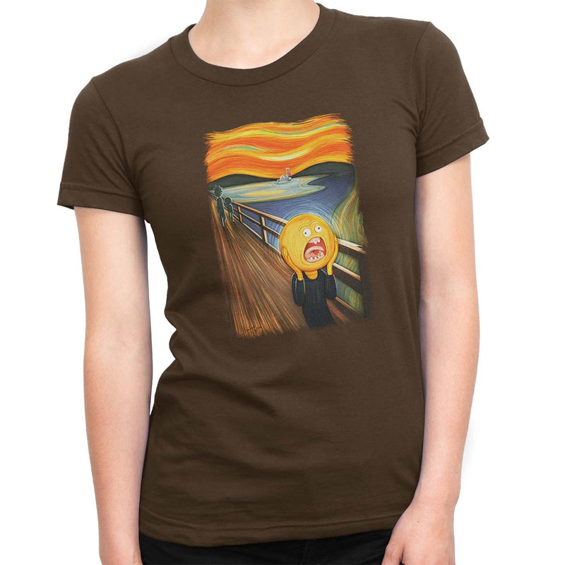 rick and morty screaming sun tshirt brown